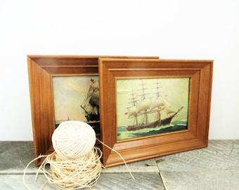 Vintage Art Collection - Nautical Rustic - Cottage Study Man Cave Decor
