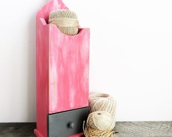 Pink and Grey Shelf - Hanging Storage Shelf - Modern Shabby Chic - Pink Home Decor