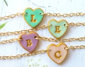 Tiny heart Letter bracelet for Girl, 2, 3, 4, 5, 6, 7, 8, 9, 10 years old girl gift
