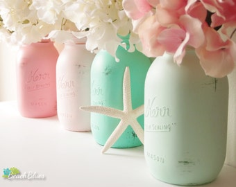 Dorm Decor Painted Mason Jars Home Decor Wedding Decor Vase Centerpiece Pencil Holder Pink Aqua