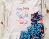 every inch of me is perfect ruffle shirt- embroidered ruffle bodysuit-M2M Sew Sassy cyan stripe- m2m Sew Sassy Peach- M2M Sew Sassy Sky Blue