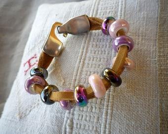 Natural leather bracelet, ceramics, clasp silver metal beads