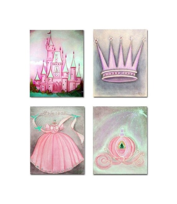 Princess nursery art set of 4 art prints baby girl nursery for Girls wall art