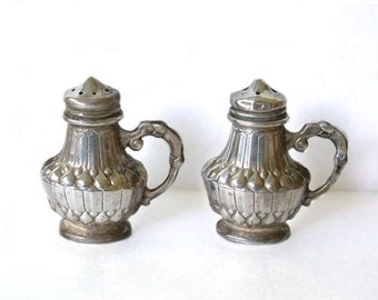 Vintage Salt and Pepper Shakers with handles Silver Made in Japan
