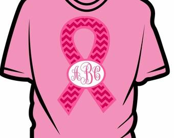 Ribbon Awareness shirt- Monogram or name in oval