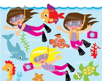 ON SALE INSTANT Download. Snorkeling girl 2. Personal and commercial use.