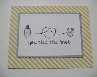SALE - Handmade Wedding Card - You Tied the Knot - Love Bird Card - Congratulations