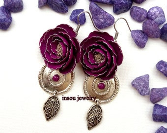 Purple Earrings Peony Earrings Flower Earrings Purple Flowers Wedding Jewelry Bridesmaid Jewelry Purple Jewelry Handmade Jewelry Floral