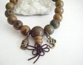 Spiritual Inspirational Healing Wooden Mala Men's Bracelet Wellness Oneness Cosmic Buddha Om Eco Beads Enlightenment Love Peace Kindness
