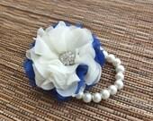 Wrist Corsage, Royal Blue and Ivory Chiffon Corsage, bridesmaid Corsage