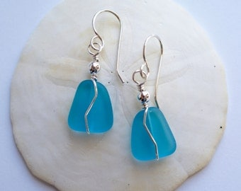 Sterling Silver and Aqua Sea Glass Earrings, zig zag wire wrapped