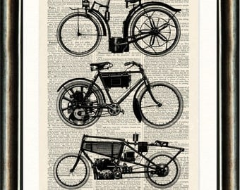 Vintage Motorcycles - Upcycled vintage image printed on a late 1800s Dictionary page Buy 3 get 1 FREE