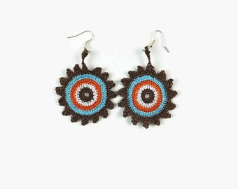 Brown Blue Orange White  Crochet Earrings, Crochet Jewelry, Dangle Motif Earrings,  Boho Hippie Jewelry , Gift For Her