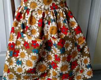 Apron, re purposed from vintage napkins, made from vintage fabric, flower print, 1960-70s look