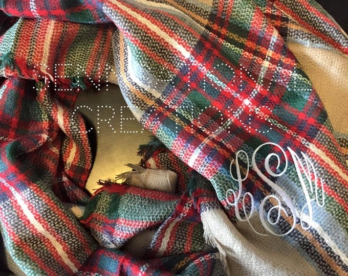 Plaid Blanket Scarves, Monogrammed Blanket Scarf, Blanket Scarf, Plaid