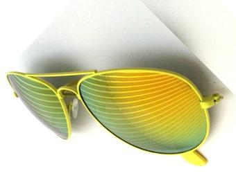 Mirrored Sunglasses, Yellow Sunglasses, Aviators, Burning Man Goggles, Aviator Glasses, Yellow Revo Lens, Yellow Eyeglasses, Gold Aviators