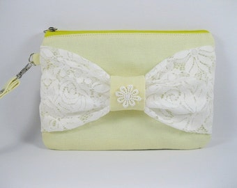 SUPER SALE - Vanilla Yellow with White Lace Bow Clutch - Bridal Clutches, Bridesmaid Wristlet, Wedding Gift - Made To Order