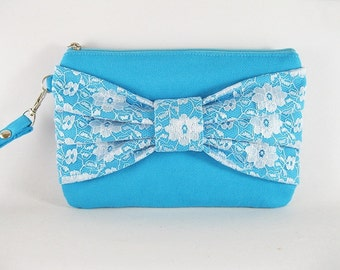 SUPER SALE - Blue Lace Bow Clutch - Bridal Clutches, Bridesmaid Wristlet, Wedding Gift, Cosmetic Bag, Zipper Pouch - Made To Order