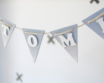 Wood Name banner - Gray ombre Kids room decoration - Personalized birthday gift for 1 year old - Baby shower wood banner - wall pennant