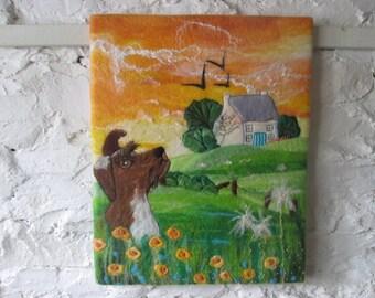 felt painting, textile art, fibre art, felt dog, dog picture