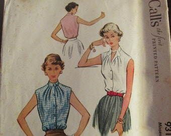 """Vintage 1950s McCall's 9316 Sleeveless BLOUSE Sewing Pattern Size 18 Bust 36"""""""