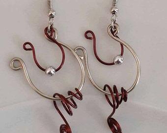 Wire Earrings, Wire Wrapped Earrings, dangle earrings, earrings, wire jewelry