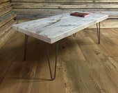 QUICK SHIP-Weathered grey barnwood coffee table with steel hairpin legs.
