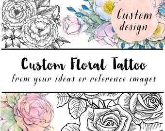 custom floral illustration - design your own temporary tattoo - artist customized illustration