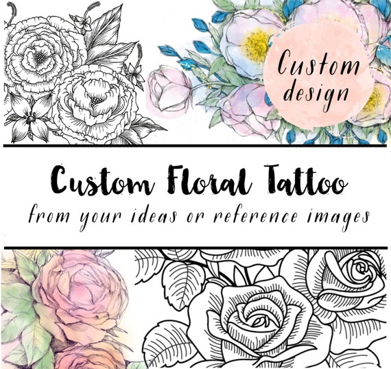 Custom Floral Illustration Design Your Own Temporary Tattoo