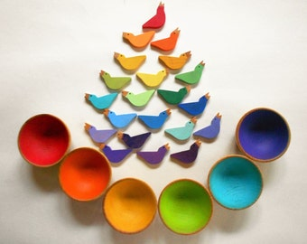 Kids wood sorting color matching montessori birds and nests game wooden birds and bowls set color sorting wood toy