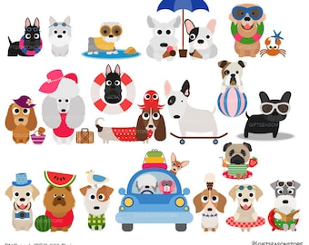 Summer dogs Digital clip art for Personal and Commercial use - INSTANT DOWNLOAD