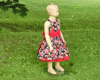 Floral flower girl dress. Girls cotton flower dress. Red and black flower girl dress. Flower print dress. Toddler girls birthday dress