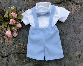 Baby boy first birthday outfit.Boys suspender outfit.Ring bearer outfit.Toddler linen suit.Baby shorts set.First birthday boy.Family photo.