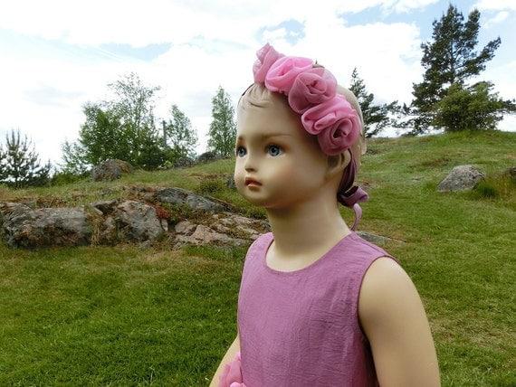 Flower girl headband, pink floral hairpiece, girls hairband accessory, pink roses. Rustic headband. Chiffon head piece