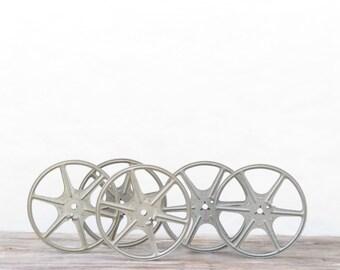 5 Vintage 5 Inch Kenco Metal Film Reels - Vintage Film Reels - Vintage Industrial Film Reels - Industrial Decor - Boho Decor