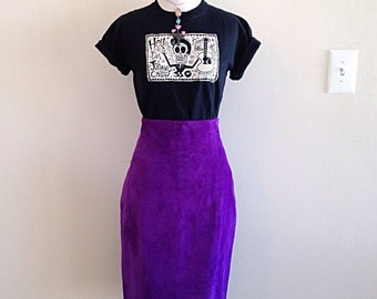 Vintage Bright Purple Suede High Waist Pencil Skirt