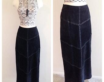 Vintage Long Black Suede and Leather Maxi Skirt Southwest Boho Style