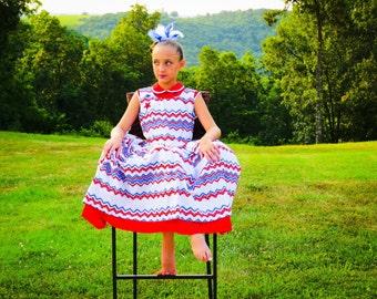 Girl's Patriotic  Dress, 4th of July Dress, Chevron Dress