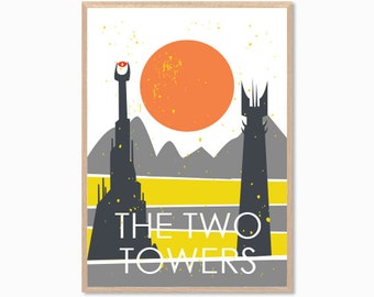LOTR The Two Towers Poster : Modern Movie  Illustration Retro Art Wall Decor