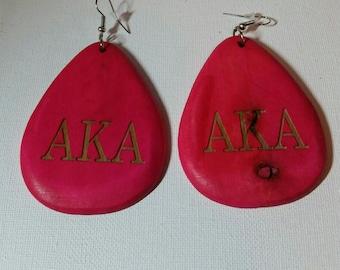 Earrings, Engraved Pink Wooden Alpha Kappa Alpha Earrings, AKA, Hoop Earrings