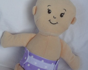 Wee Baby Stella Doll Diaper-Handmade Diaper fits Wee Baby Stella dolls-Lavender and white polka dot-Great for pretend play