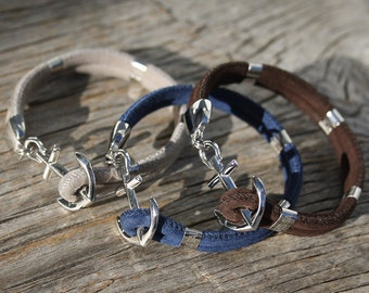 Anchor bracelet - Nautical suede leather bracelet - New Haven in Stainless Steel