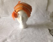 Rsvd Curline - Orange Woven vintage half hat and dark dusty pink half hat - church hats