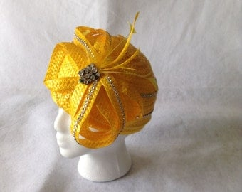 Canary yellow straw church hat with large bow - Mother's Day hat, mother of the bride, formal church hat, Pillbox Hat,