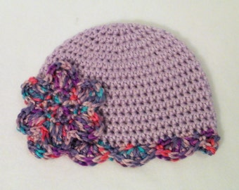 SALE Crocheted Baby Hat Purple Baby Girl's Hat Purple Crocheted Baby Girl's Hat