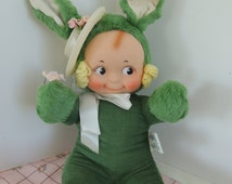 Green Corduory Plush Bunny with Kewpie Doll style face, Easter hat, St Patrick's Day doll, Knickerbocker, Beautiful condition,  Vintage
