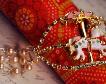 Pink Pearl Gold Carousel Bracelet