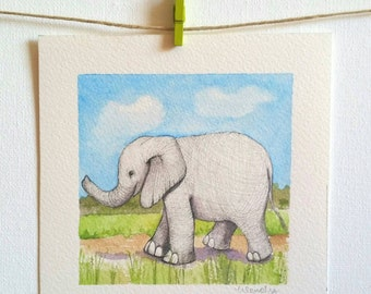 Watercolor of small elephant on a walk