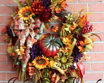 Rich Autumn Elegance XL Luxury Fall Wreath, Large, Red Pumpkin, Rust, Moss Green, Gold, Rustic, Eggplant Purple, Sunflower, Wisteria, Tuscan