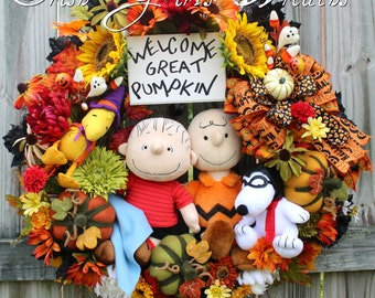 Welcome Great Pumpkin Large Halloween Wreath, Charlie Brown, Linus, Flying Ace Snoopy, Witch Woodstock, Peanuts, Felt Pumpkins, Fall wreath